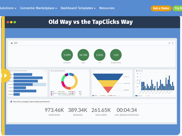 TapAnalytics data visualizationa and reporting tools screenshot