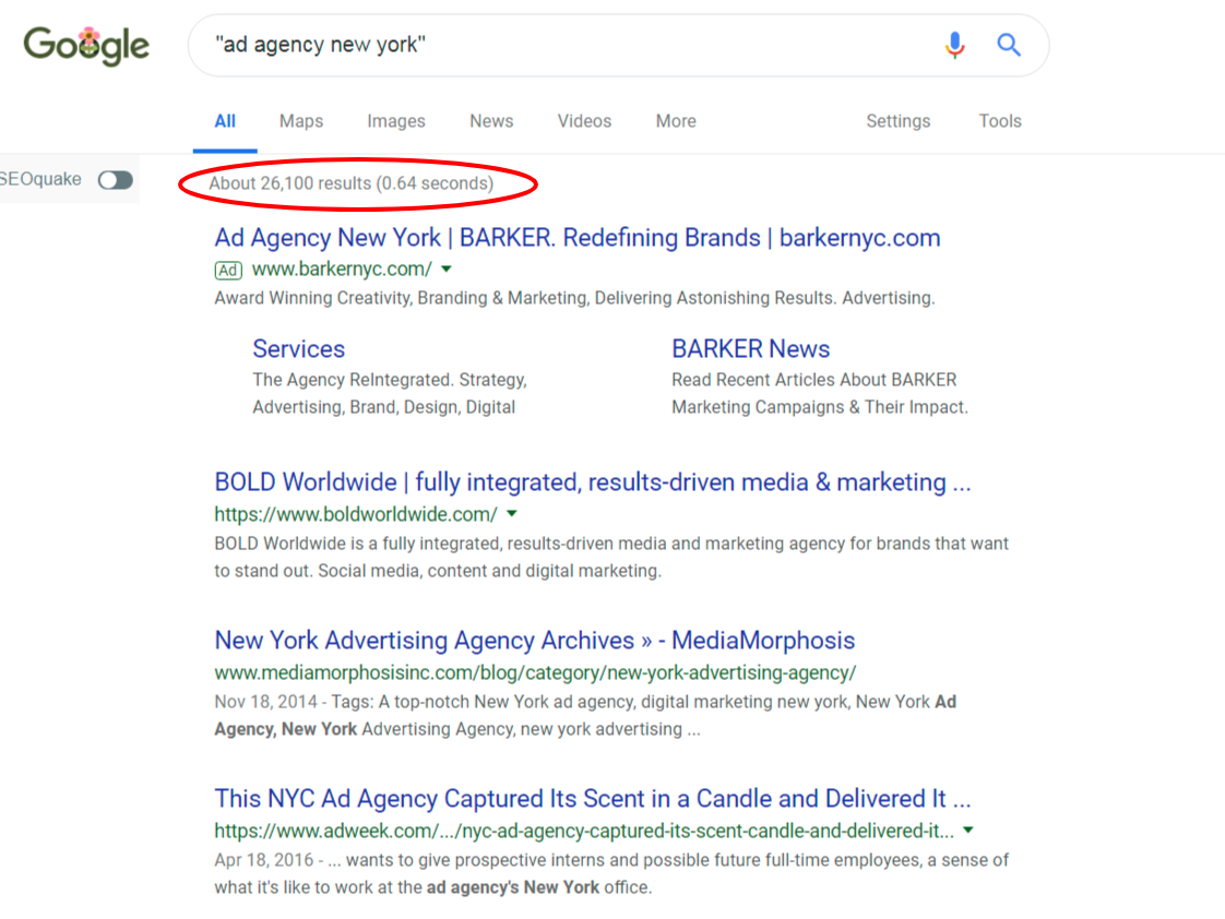 agency search results