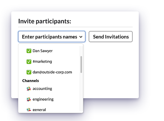 screenshot of Doodle slack integrated meeting invites
