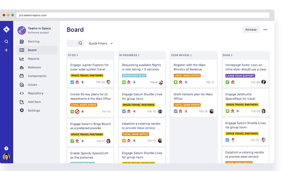 screenshot of Jira project management