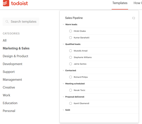 todoist screenshot of sales template
